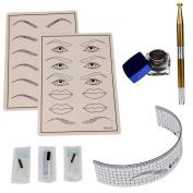 FTXJ Permanent Makeup Microblading Eyebrow Tattoo kit Pen Needle Paste Skin Ruler