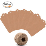 OR Pure 100 Sheet Kraft Paper Gift Tags Bonbonniere Favour Rectangular Gift Tags with 30m Natural Jute Twine Retangle Hanging Tags Bonbonniere Favour for Crafts Price Tags Lables