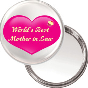 "Yummy Grandmummy ""World's Best Mother In Law"" Unique Compact Makeup Button Mirror. 75mm Diameter."