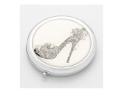 Butterfly Heel Monochroic Folding Makeup Round Compact Mirror