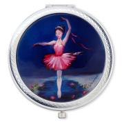 Vanroe 'Ballerina Princess' Designer Compact Mirror in Gift Box - For Teen Girl or Dancer, UK Artist, Magnified