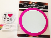 "Round Suction Cup Mirror with ""I love you"" Compact"