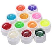 12 Colours Glitter UV Gel Builder Polish Set by AHAOMG