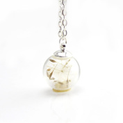 OVERMAL Real Natural Flowers Glass Pendant Silver Necklace