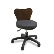 Continuum Deluxe (Black Seat / Dark Walnut Wood) Technician Salon & Spa Chair + FREE Apron by The Cape Company