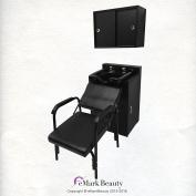 Square ABS Plastic Shampoo Bowl Floor & Towel Cabinet Package w/ Chair TLC-B11-FC-TC-216
