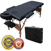 New Portable Massage Table 210cm Facial SPA Bed Tattoo w/Free Carry Case -Black