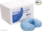 100 Disposable Fitted Craddle Massage Table Face Rest Cover 3 Ply Blue Fluid Resis