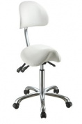 White Esthetician Saddle Stool with Curved Backrest and Chrome BaseUSA Salon and Spa Lolli SA USA-1025A