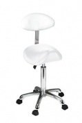 White Esthetician Saddle Stool With Curved Backrest USA Salon and Spa Saddle + USA-1024AB2
