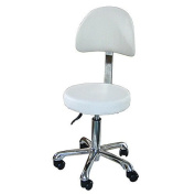 White Round Seat Curved back Esthetician Technician Stool With Metal Base USA Salon and Spa Button ++ USA-1023AB3