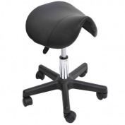 Adjustable Swivel Salon Massage Spa Seat Tattoo Chair Saddle Stool - Black by HOMCOM