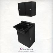 Extra Wide Black ABS Plastic Shampoo Bowl with Floor Cabinet & Upper Towel Cabinet TLC-B22FC-TC
