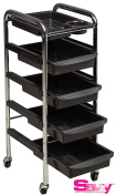 Savvy SAV-467 Marlene Salon Stand Barber Trolley, Rollabout Cart in Black + FREE Cape Co. Apron $25 value)