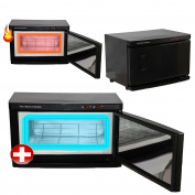 Black High Capacity Hot Towel Cabinet & UV Steriliser Warmer Salon spa Equipment