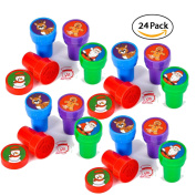 24 Christmas Assorted Bright Coloured Plastic Stamps - Self Ink Christmas Stampers - Fun Gift, Party Favours, Party Toys, Goody Bag Favours