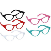 Amscan Nifty 50's Theme Party Cat Style Glasses, Pack of 10, Multi Colour