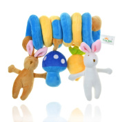 Baby Pram Crib Cute Rabbit Design Activity Spiral Plush Rattles Toys Stroller and Travel Activity Toy TooNaBaba
