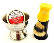 Omega Yellow Shaving Brush 3 In 1 Men's Shaving Set, Shaving Pure Bristle Hair Brush + Soap Bowl + Shaving Soap
