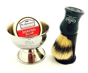 ZEVA Premium Shave Set Omega Shaving Brush With Zeva Shaving Bowl and Shaving Soap Mens Grooming Gift Set