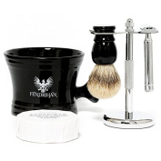 5-piece Wet Shaving Set for Men with Razor, Stand, Brush, Bowl, and Soap