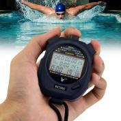 Ckeyin ® Professional Digital Handheld LCD Chronograph Timer Sports Stopwatch, Three-Row 60 Memories Lap counter Running timer