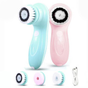 MGbeauty Facial Brush 3 in 1 Facial Massager Face Brush with 3 Brush Heads - Pink