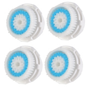 Pursonic Compatible Replacement Facial Cleansing Brush Heads (4-Pack), designed for Deep Pore Cleansing, fits Mia, Mia2, Mia3 (Aria), SMART Profile, Alpha Fit, Pro, Plus and Radiance Cleansing Systems