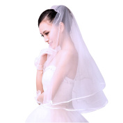 Discoball New 2T white or ivory wedding bridal with Veil Satin Edge comb Elbow