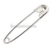 100 Big 4.4cm Long Silver Finished Steel Metal Craft Safety Pins