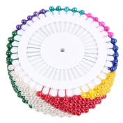 "Straight Pin Colourful 1-1/2"" (35mm)long Plastic Metal Dressmaker Sewing FAUX PEARL HEAD ROUND CORSAGE PINS Decorative Wedding Good Textile Hand Needles Crafts Clothes Heavy Duty"