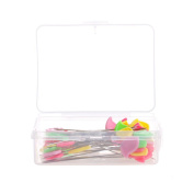 Slaxry Head Pins Multicolor Patchwork Pins Flower Bird Button DIY Quilting Tool Sewing Accessories, 50 Per Pack