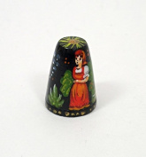 Russian Lacquer Hand Painted Thimble RED RIDING HOOD #1408