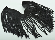 Fine Cut Black Leather Fringe