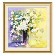 Egoshop Silk Ribbon Embroidery Kit Fresh Flower Painting DIY Wall Decor Stamp Silk Ribbon Embroidery Kit With English Instruction