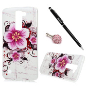 K10 Case, LG K10 Case - Fancy Colourful Print Premuim Flexible Soft TPU Rubber Skin Gel Bumper Ultra-thin Snug Fit Light Weight Protective Cover with Dust Plug & Stylus Pen by BADALink - Flowers