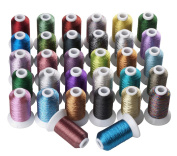 32 Colours Metallic Machine/Hand Embroidery Thread 500 Metres Each