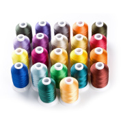 Sinbel Polyester Embroidery Thread 22 Colours 1000Meters/1100Yards Per Spool For Brother Babylock Janome Singer Pfaff Husqvaran Bernina Machines