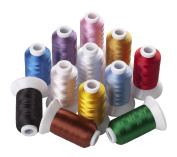 12 Spools Polyester Embroidery Machine Thread Assorted Colours Most Home Embroidery Machines 500 Metres Each