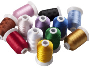 12 Spools Polyester Embroidery Machine Thread Assorted Colours Most Home Embroidery Machines