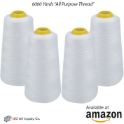4-Pack of 6000 Yards White Serger Cone Thread All Purpose Sewing Thread Polyester Spools Overlock