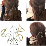Cuhair 6pcs Minimalist Dainty punk metal Gold Silver Hollow Geometric Metal Hairpin Hair Clip Clamps,Circle, Triangle and Moon