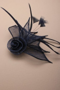 Strinking Navy Blue hessian Fascinator clip, for special occassions