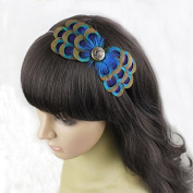 Natural Peacock Feather Fascinator Wedding Hair Clip (Blue) by Seven & Nine Service