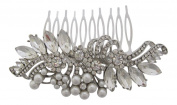 Pick A Gem Wedding Hair Accessories Vintage Diamante Pearl Cluster Bridal Hair Comb Bridesmaid Mother of The Bride Silver Finish