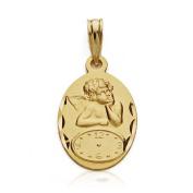 18k gold medal Cherub 19mm watch. baby birth time [AA7422]