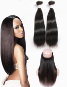 "Grace Plus 100% Brazilian 360 Lace Frontal Closure Body Wave Remy Virgin Human Hair 60cm x 10cm x 2"" Full Lace Front Closure With 3 Bundles Hair Weft Nature Black"