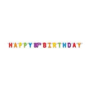 Beistle 59859-80 3 Pieces Happy 80th Birthday Streamer, 11cm x 1.5m, Multicolor