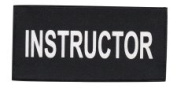 INSTRUCTOR - Printed White on Black Tactical Chest Patch 11 x 13cm - 1.3cm - Hook Fastener (Sewn) & Loop - logo t shirt jacket costume uniform patch, badge - Sold by Uniform World