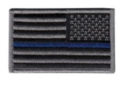 2 Pack - (Reversed) US Flag Thin Blue Line Hook and loop Patch, Grey on Black, for Police and Law Enforcement. Sold by UNIFORM WORLD